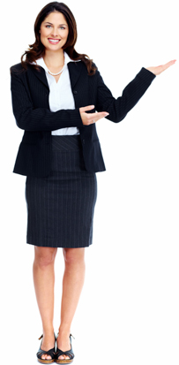 Woman pointing at accounting services.
